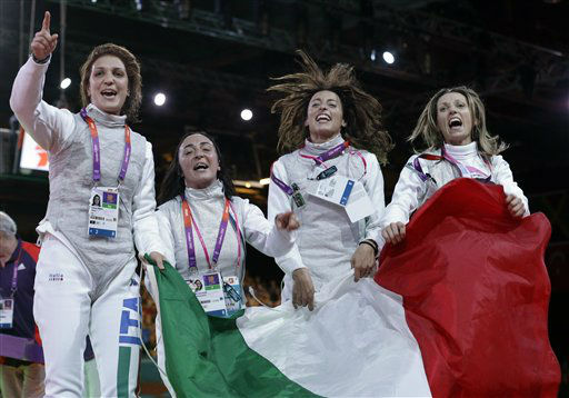 "<div class=""meta ""><span class=""caption-text "">Italy's Arianna Errigo, left to right, Ilaria Salvatori, Elisa Di Francisca and Valentina Vezzali react after defeating Russia in the gold medal match at women's team foil fencing at the 2012 Summer Olympics, Thursday, Aug. 2, 2012, in London. (AP Photo/Pat Semansky) (AP Photo/ Pat Semansky)</span></div>"