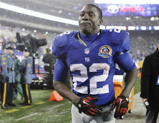 "<div class=""meta ""><span class=""caption-text "">New York Giants running back David Wilson (22) runs off the field following their NFL football game against the New Orleans Saints Sunday, Dec. 9, 2012, in East Rutherford, N.J. The Giants defeated the Saints 52-27. (AP Photo/Kathy Willens) (AP Photo/ Kathy Willens)</span></div>"