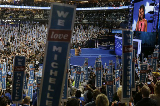 "<div class=""meta ""><span class=""caption-text "">First Lady Michelle Obama speaks to delegates at the Democratic National Convention in Charlotte, N.C., on Tuesday, Sept. 4, 2012. (AP Photo/Lynne Sladky) (AP Photo/ Lynne Sladky)</span></div>"