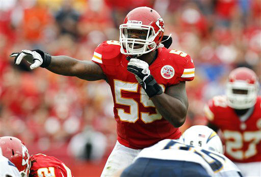 FILE - In this Sept. 30, 2012 file photo, Kansas City Chiefs inside linebacker Jovan Belcher &#40;59&#41; gestures at the line of scrimmage during an NFL football game against the San Diego Chargers in Kansas City, Mo. Police say Belcher fatally shot his girlfriend early Saturday, Dec. 1, 2012, in Kansas City, Mo., then drove to Arrowhead Stadium and committed suicide in front of his coach and general manager. &#40;AP Photo&#47;Ed Zurga, File&#41; <span class=meta>(AP Photo&#47; Ed Zurga)</span>
