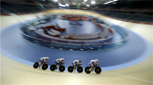The South Korean men&#39;s cycling team trains for the 2012 Summer Olympics, Monday, July 30, 2012, in London. &#40;AP Photo&#47;Sergey Ponomarev&#41; <span class=meta>(AP Photo&#47; Sergey Ponomarev)</span>