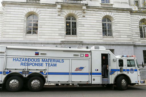 A Capitol Police Hazardous Materials Response Team truck is parked at the Russell Senate Office building on Capitol Hill in Washington, Wednesday, April 17, 2013, after reports of suspicious packages discovered on Capitol Hill. U.S. Capitol police are investigating the discovery of at least two suspicious envelopes in Senate office buildings across the street from the Capitol.  &#40;AP Photo&#47;Charles Dharapak&#41; <span class=meta>(AP Photo&#47; Charles Dharapak)</span>