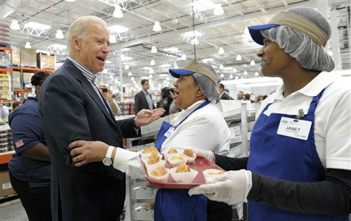"<div class=""meta ""><span class=""caption-text "">Vice President Joe Biden talks with Costco employees in the bakery section of the store while shopping at Costco in Washington, Thursday, Nov. 29, 2012. Biden went shopping for presents and to highlight the importance of renewing middle-class tax cuts so families and businesses have more certainty at this critical time for our economy. (AP Photo/Susan Walsh) (AP Photo/ Susan Walsh)</span></div>"