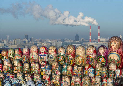 Matryoshkas, traditional Russian wooden dolls, are displayed for sale on a cold winter day in the Sparrow Hills, the site of tourist attraction in Moscow, Wednesday, Dec. 12, 2012. Temperature is about -10 C &#40;14 F&#41;. &#40;AP Photo&#47;Misha Japaridze&#41; <span class=meta>(AP Photo&#47; Misha Japaridze)</span>