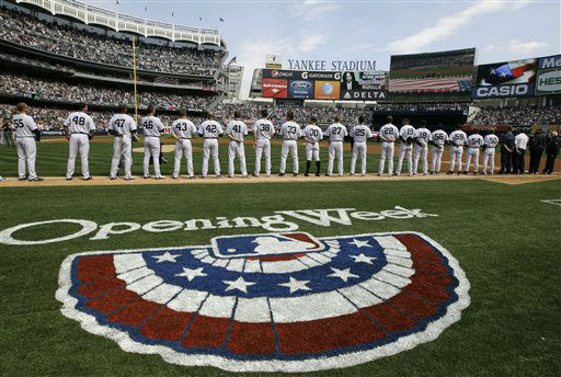 "<div class=""meta ""><span class=""caption-text "">New York Yankees players line up on the baseline during introductions and a tribute to the Newtown, Ct., school shooting victims at an Opening Day baseball game at Yankee Stadium in New York, Monday, April 1, 2013.  (AP Photo/Kathy Willens) (AP Photo/ Kathy Willens)</span></div>"