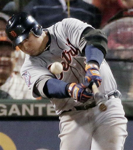 Detroit Tigers&#39; Miguel Cabrera hits an RBI single to score Austin Jackson during the sixth inning of Game 1 of baseball&#39;s World Series against the San Francisco Giants, Wednesday, Oct. 24, 2012, in San Francisco. &#40;AP Photo&#47;Charlie Riedel&#41; <span class=meta>(AP Photo&#47; Charlie Riedel)</span>
