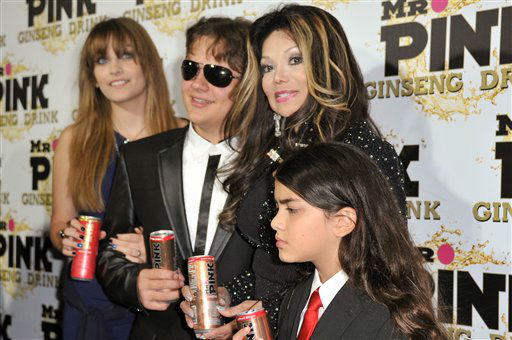 From left, Paris Jackson, Prince Jackson, La Toya Jackson, and Blanket Jackson attend the Mr. Pink Ginseng launch party at the Beverly Wilshire hotel on Thursday, Oct. 11, 2012, in Beverly Hills, Calif. (Photo by Richard Shotwell/Invision/AP)