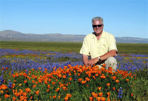 FILE- In this March 31, 2005, file photo provided by the Howser production company via KCET, television host Huell Howser poses for a photo at the Antelope Valley California Poppy Reserve in Lancster, Calif. Howser, the homespun host of public television&#39;s popular &#34;California&#39;s Gold&#34; travelogues, has died at age 67. Howser died at his home Sunday, Jan. 6, 2013, from natural causes, said Ayn Allen, corporate communications manager for KCET. &#40;AP Photo&#47;KCET, Howser Production Company&#41; <span class=meta>(AP Photo&#47; Uncredited)</span>