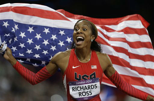 USA&#39;s Sanya Richards-Ross reacts after winning the women&#39;s 400-meter during the athletics in the Olympic Stadium at the 2012 Summer Olympics, London, Sunday, Aug. 5, 2012. &#40;AP Photo&#47;Markus Schreiber&#41; <span class=meta>(AP Photo&#47; Markus Schreiber)</span>