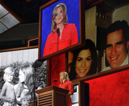 "<div class=""meta ""><span class=""caption-text "">Ann Romney, wife of U.S. Republican presidential nominee Mitt Romney, addresses the Republican National Convention in Tampa, Fla., on Tuesday, Aug. 28, 2012. (AP Photo/Charles Dharapak) (AP Photo/ Charles Dharapak)</span></div>"