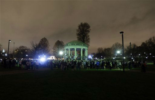 "<div class=""meta ""><span class=""caption-text "">A crowd gathers at Boston Common after the final suspect in the Boston Marathon bombing was arrested, Friday, April 19, 2013, in Boston. Marathon bombing suspect Dzhokhar Tsarnaev was captured in Watertown, Mass. The 19-year-old college student wanted in the bombings was taken into custody Friday evening after a manhunt that left the city virtually paralyzed and his older brother and accomplice dead.  (AP Photo/Julio Cortez) (AP Photo/ Julio Cortez)</span></div>"