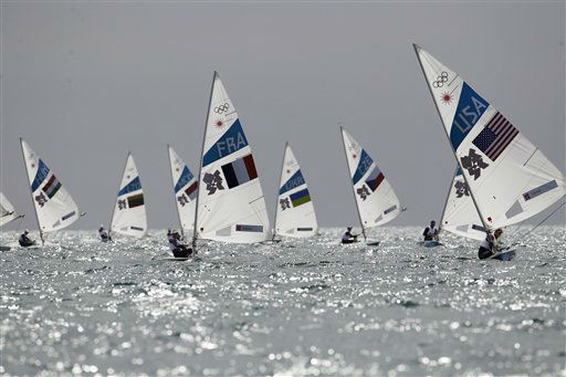 Olympics competitors sail on Laser dinghy during the race 5 at the London 2012 Summer Olympics, Wednesday, Aug. 1, 2012, in Weymouth and Portland, England. &#40;AP Photo&#47;Francois Mori&#41; <span class=meta>(AP Photo&#47; Francois Mori)</span>