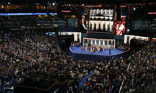 House Minority Leader Nancy Pelosi introduces the Democratic women of the House of Representatives during the Democratic National Convention in Charlotte, N.C., on Tuesday, Sept. 4, 2012. &#40;AP Photo&#47;Carolyn Kaster&#41; <span class=meta>(AP Photo&#47; Carolyn Kaster)</span>