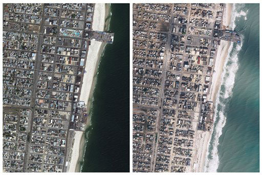 This photo combo from images obtained from Geo-Eye shows Seaside Heights, N.J. before, left, and after Superstorm Sandy passed through the area on Monday, Oct. 29, 2012.  All along the state?s 127-mile coastline, the storm wrecked communities rich and poor, from multi-million-dollar homes in Bay Head and Mantoloking to blue-collar bayfront bungalows. Boardwalks were trashed, a roller coaster dumped into the ocean.  &#40;AP Photo&#47;GeoEye&#41; <span class=meta>(AP Photo&#47; Uncredited)</span>