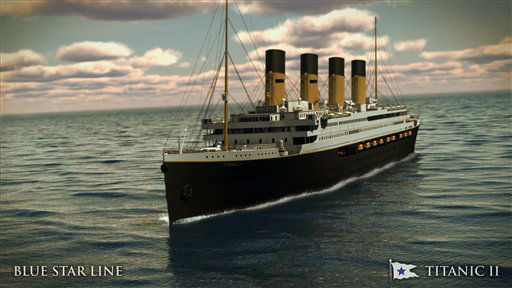 "<div class=""meta image-caption""><div class=""origin-logo origin-image ""><span></span></div><span class=""caption-text"">In this rendering provided by Blue Star Line, the Titanic II is shown cruising at sea. The ship, which Australian billionaire Clive Palmer is planning to build in China, is scheduled to sail in 2016. Palmer said his ambitious plans to launch a copy of the Titanic and sail her across the Atlantic would be a tribute to those who built and backed the original. (AP Photo/Blue Star Line) (AP Photo/ Uncredited)</span></div>"