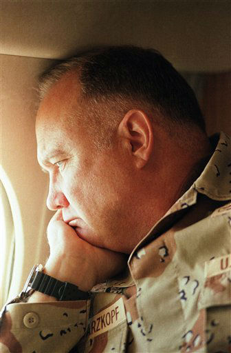 FILE - In this Jan. 13, 1991 file photo, General H. Norman Schwarzkopf, commander of U.S. troops in the Gulf, gazes from the window of his small jet on his way out to visit U.S. troops in the desert in Saudi Arabia.  Schwarzkopf died Thursday, Dec. 27, 2012 in Tampa, Fla. He was 78. &#40;AP Photo&#47;Bob Daugherty, File&#41; <span class=meta>(AP Photo&#47; Bob Daugherty)</span>