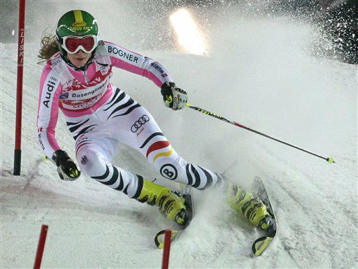 Winner Lena Duerr of Germany passes a gate during the women&#39;s parallel slalom at the FIS Ski World Cup in Moscow, Russia, Tuesday, Jan. 29, 2013. &#40;AP Photo&#47;Mikhail Metzel&#41; <span class=meta>(AP Photo&#47; Mikhail Metzel)</span>