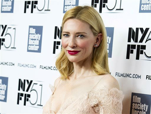 "<div class=""meta image-caption""><div class=""origin-logo origin-image ""><span></span></div><span class=""caption-text"">FILE - This Oct. 2, 2013 file photo shows Cate Blanchett at the New York Film Festival Gala Tribute held in her honor in New York. Blanchett was nominated for a Golden Globe for best actress in a motion picture drama for her role in the film ""Blue Jasmine"" on Thursday, Dec. 12, 2013.  The 71st annual Golden Globes will air on Sunday, Jan. 12. (Photo by Charles Sykes/Invision/AP, File) (Photo/Charles Sykes)</span></div>"
