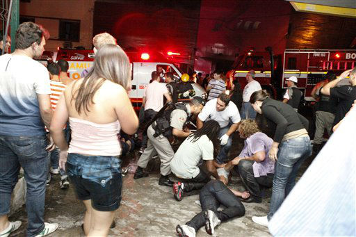 "<div class=""meta ""><span class=""caption-text "">People help an injured man, victim of a fire in a club in Santa Maria city, Rio Grande do Sul state,  Brazil,  Sunday, Jan. 27,  2013.  According to police more than 200 died in the devastating nightclub fire in southern Brazil.  Officials say the fire broke out at the Kiss club in the city of Santa Maria while a band was performing. At least 200 people were also injured. (AP Photo/Agencia RBS) (AP Photo/ Uncredited)</span></div>"