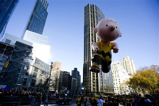 "<div class=""meta ""><span class=""caption-text "">The Charlie Brown balloon floats in the Macy's Thanksgiving Day Parade in New York, Thursday, Nov. 22, 2012. . The annual Macy's Thanksgiving Day Parade put a festive mood in the air in a city still coping with the aftermath of Superstorm Sandy (AP Photo/Charles Sykes) (AP Photo/ Charles Sykes)</span></div>"