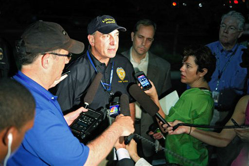 Aurora Police Chief Daniel Oates talks to media at the Aurora Mall where as many as 14 people were killed and many injured at a shooting at the Century 16 movie theatre in Aurora, Colo., Friday, July 20, 2012. &#40;AP Photo&#47;Ed Andrieski&#41; <span class=meta>(AP Photo&#47; Ed Andrieski)</span>