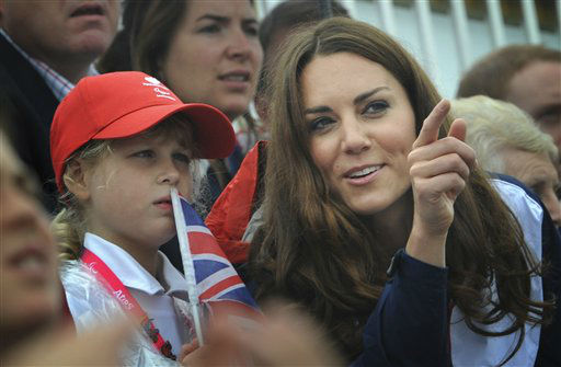 Britain&#39;s Kate Duchess of Cambridge, right,  and Lady Louise Windsor, daughter of Prince Edward, watch the rowing finals at Eton Dorney England during the Paralympic Games Sunday Sept. 2, 2012. &#40;AP Photo&#47;Stefan Rousseau&#47;Pool&#41; <span class=meta>(AP Photo&#47; Stefan Rousseau)</span>