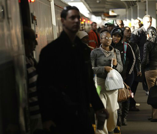 Commuters navigate the Long Island Rail Road Jamaica Station Thursday, Nov. 1, 2012, in the New York City borough of Queens. Three days after superstorm Sandy made landfall, residents and commuters still faced obstacles as they tried to return to pre-storm routines. &#40;AP Photo&#47;Frank Franklin II&#41; <span class=meta>(AP Photo&#47; Frank Franklin II)</span>