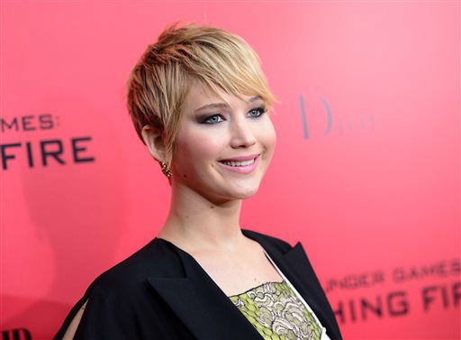 FILE - This Nov. 20, 2013 file photo shows actress Jennifer Lawrence attends a special screening of &#34;The Hunger Games: Catching Fire&#34;in New York.  Lawrence was nominated for a Golden Globe for best supporting actress in a motion picture for her role in ?American Hustle ? on Thursday, Dec. 12, 2013.  The 71st annual Golden Globes will air on Sunday, Jan. 12.&#40;Photo by Evan Agostini&#47;Invision&#47;AP&#41; <span class=meta>(Photo&#47;Evan Agostini)</span>