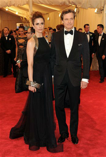"Actor Colin Firth and wife Livia Giuggioli attend The Metropolitan Museum of Art Costume Institute gala benefit, ""Punk: Chaos to Couture"", on Monday, May 6, 2013 in New York. (Photo by Evan Agostini/Invision/AP)"