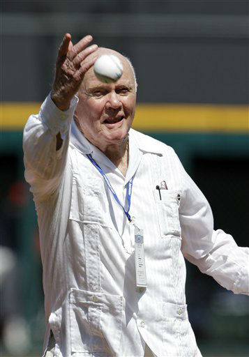 Former astronaut and senator John Glenn tosses a ceremonial pitch before a baseball game between the Cleveland Indians and New York Yankees, Sunday, Aug. 26, 2012, in Cleveland. &#40;AP Photo&#47;Mark Duncan&#41; <span class=meta>(AP Photo&#47; Mark Duncan)</span>
