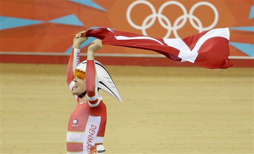 Denmark&#39;s Lasse Norman Hansen celebrates after winning the gold medal in the track cycling men&#39;s omnium event, during the 2012 Summer Olympics, Sunday, Aug. 5, 2012, in London. &#40;AP Photo&#47;Matt Rourke&#41; <span class=meta>(AP Photo&#47; Matt Rourke)</span>