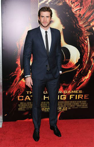 "Actor Liam Hemsworth attends a special screening of ""The Hunger Games: Catching Fire"" at AMC Lincoln Square on Wednesday, Nov. 20, 2013 in New York. (Photo by Evan Agostini/Invision/AP)"