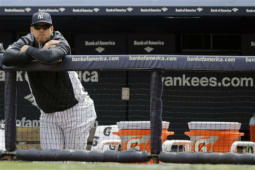 New York Yankees&#39; Alex Rodriguez watches from the bench during an opening day baseball game against the Boston Red Sox, Monday, April 1, 2013, in New York. &#40;AP Photo&#47;Matt Slocum&#41; <span class=meta>(AP Photo&#47; Matt Slocum)</span>