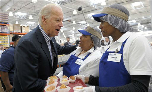 "<div class=""meta image-caption""><div class=""origin-logo origin-image ""><span></span></div><span class=""caption-text"">Vice President Joe Biden talks with Costco employees in the bakery section of the store while shopping at a Costco in Washington, Thursday, Nov. 29, 2012. Biden went shopping for presents and to highlight the importance of renewing middle-class tax cuts so families and businesses have more certainty at this critical time for our economy. (AP Photo/Susan Walsh) (AP Photo/ Susan Walsh)</span></div>"