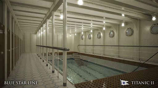 In this rendering provided by Blue Star Line, the swimming pool on the Titanic II is shown. The ship, which Australian billionaire Clive Palmer is planning to build in China, is scheduled to sail in 2016.The ship, which Australian billionaire Clive Palmer is planning to build in China, is scheduled to sail in 2016. Palmer said his ambitious plans to launch a copy of the Titanic and sail her across the Atlantic would be a tribute to those who built and backed the original. &#40;AP Photo&#47;Blue Star Line&#41; <span class=meta>(AP Photo&#47; Uncredited)</span>