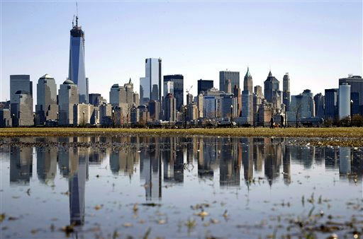 "<div class=""meta image-caption""><div class=""origin-logo origin-image ""><span></span></div><span class=""caption-text"">New York's Lower Manhattan skyline, including the One World Trade Center, left, is reflected in water on Saturday, April 6, 2013, as seen from Liberty State Park in Jersey City, N.J. (AP Photo/Mel Evans) (AP Photo/ Mel Evans)</span></div>"