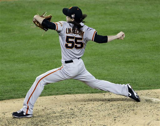 San Francisco Giants relief pitcher Tim Lincecum throws during the sixth inning of Game 3 of baseball&#39;s World Series against the Detroit Tigers Saturday, Oct. 27, 2012, in Detroit. &#40;AP Photo&#47;Paul Sancya &#41; <span class=meta>(AP Photo&#47; Paul Sancya)</span>