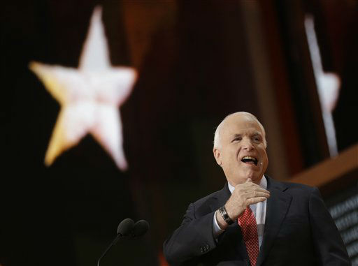 "<div class=""meta ""><span class=""caption-text "">Arizona Senator John McCain gestures as he walks up to the podium during the Republican National Convention in Tampa, Fla., on Wednesday, Aug. 29, 2012.  (AP Photo/Charles Dharapak) (AP Photo/ Charles Dharapak)</span></div>"