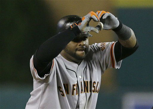 San Francisco Giants&#39; Pablo Sandoval reacts after hitting a double during the eighth inning of Game 3 of baseball&#39;s World Series against the Detroit Tigers Saturday, Oct. 27, 2012, in Detroit. &#40;AP Photo&#47;Matt Slocum&#41; <span class=meta>(AP Photo&#47; Matt Slocum)</span>