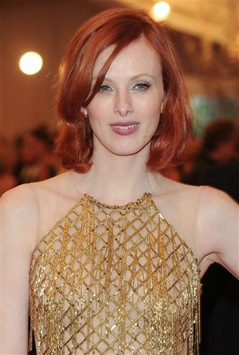 "Model Karen Elson attends The Metropolitan Museum of Art Costume Institute gala benefit, ""Punk: Chaos to Couture"", on Monday, May 6, 2013 in New York. (Photo by Evan Agostini/Invision/AP)"
