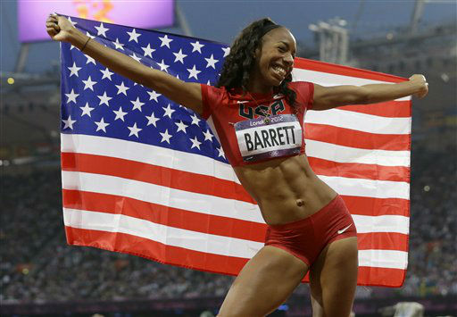 United States&#39; Brigetta Barrett poses with her national flag after her second place win in the women&#39;s high jump during the athletics in the Olympic Stadium at the 2012 Summer Olympics, London, Saturday, Aug. 11, 2012. &#40;AP Photo&#47;Lee Jin-man&#41; <span class=meta>(AP Photo&#47; Lee Jin-man)</span>