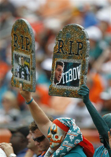 Miami Dolphins fans during the first half of an NFL football game against the New York Jets,  Sunday, Sept. 23, 2012 in Miami . &#40;AP Photo&#47;Wilfredo Lee&#41; <span class=meta>(AP Photo&#47; Wilfredo Lee)</span>