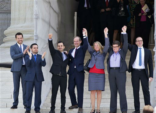 Plaintiffs and lawyers in Hollingsworth v. Perry, the California Proposition 8 case, react on steps of the Supreme Court after justices cleared the way for the resumption of same-sex marriage in California, in Washington, Wednesday, June 26, 2013. From left, Adam Umhoefer, executive director of the American Foundation for Equal Rights, Jeff Zarrillo, and his partner Paul Katami, attorney David Boies, Sandy Stier and her partner Kris Perry, and Chad Griffin, president of the Human Rights Campaign.     &#40;AP Photo&#47;J. Scott Applewhite&#41; <span class=meta>(AP Photo&#47; J. Scott Applewhite)</span>