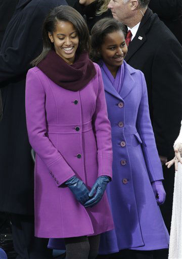 Sasha and Malia Obama arrive at the ceremonial swearing-in of their father President Barack Obama at the U.S. Capitol during the 57th Presidential Inauguration in Washington, Monday, Jan. 21, 2013. &#40;AP Photo&#47;Paul Sancya&#41; <span class=meta>(AP Photo&#47; Paul Sancya)</span>