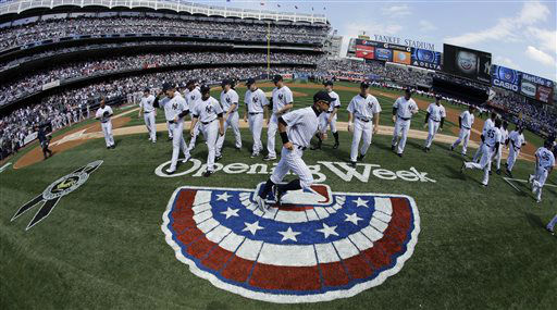 "<div class=""meta ""><span class=""caption-text "">New York Yankees' Ichiro Suzuki, of Japan, runs on the field after opening day ceremonies at a baseball game against the Boston Red Sox, Monday, April 1, 2013, in New York. (AP Photo/Matt Slocum) (AP Photo/ Matt Slocum)</span></div>"