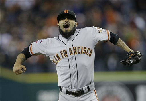 "<div class=""meta ""><span class=""caption-text "">San Francisco Giants' Sergio Romo reacts after striking out Detroit Tigers' Omar Infante to end Game 3 of baseball's World Series Saturday, Oct. 27, 2012, in Detroit. The Giants defeated the Tigers 2-0. The Giants lead the series 3-0.  (AP Photo/Matt Slocum) (AP Photo/ Matt Slocum)</span></div>"