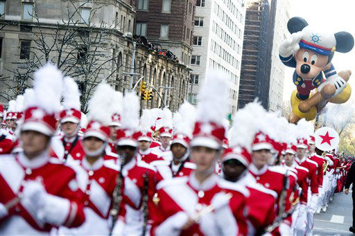 "<div class=""meta ""><span class=""caption-text "">The Sailor Mickey balloon floats in the Macy's Thanksgiving Day Parade in New York, Thursday, Nov. 22, 2012. The American harvest holiday came as portions of the Northeast were still coping with the wake of Superstorm Sandy, and volunteers planned to serve thousands of turkey dinners to people it left homeless or struggling. (AP Photo/Charles Sykes) (AP Photo/ Charles Sykes)</span></div>"