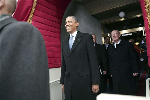 President Barack Obama arrives on the West Front of the Capitol in Washington, Monday, Jan. 21, 2013, for the Presidential Barack Obama&#39;s ceremonial swearing-in ceremony during the 57th Presidential Inauguration.  &#40;AP Photo&#47;Win McNamee, Pool&#41; <span class=meta>(AP Photo&#47; Win McNamee)</span>