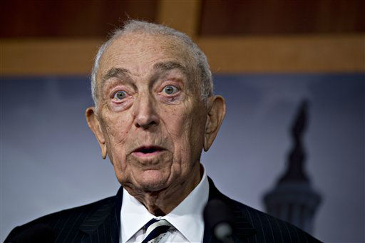 "<div class=""meta image-caption""><div class=""origin-logo origin-image ""><span></span></div><span class=""caption-text"">Sen. Frank Lautenberg, D-N.J., speaks to reporters after the Senate passed a $50.5 billion emergency relief measure for Superstorm Sandy victims at the Capitol in Washington, Monday, Jan. 28, 2013. Three months after Superstorm Sandy devastated coastal areas in much of the Northeast, the Senate is finaly sending a $50.5 billion emergency package of relief and recovery aid to President Obama for his signature. (AP Photo/J. Scott Applewhite) (AP Photo/ J. Scott Applewhite)</span></div>"