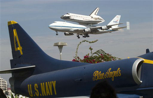Space Shuttle Endeavour mounted on NASA's Shuttle Carrier Aircraft, passes over parts of California, Friday, Sept. 21, 2012. Endeavour is making a final trek across the country to the California Science Center in Los Angeles, where it will be permanently displayed. (AP Photo/Marcio Jose Sanchez)